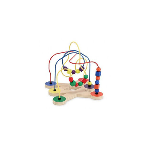 Bead Maze care home activity for dementia residents, image shows wooden bead game with a maze of coloured wire loops with coloured beads to pass along from one side to the other, natural wooden base with cut out shape in centre. Bright primary colours, size 29cm x 29cm x 28cm