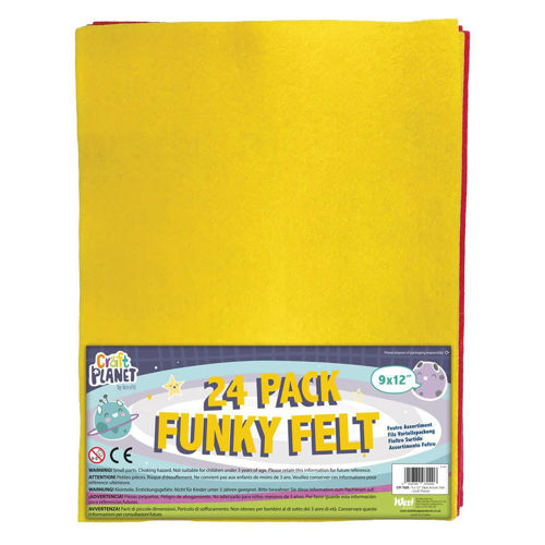 Felt Craft Pack - 24 assorted coloured A4 pieces for all types of craft, image shows yellow felt with glimpse of other colours behind in clear plastic packaging with colourful label. Size: A4.