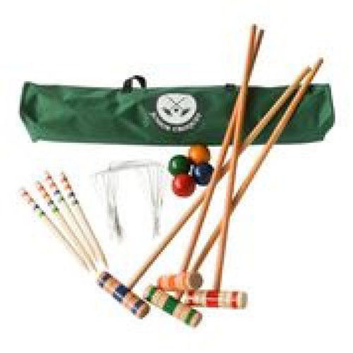 Wooden Croquet Set, for outdoor fun in the garden, Set contains:   4 x 75cm mallets, 4 x balls, 4 x stakes, 9 x hoops, canvas carry bag  and full instructions