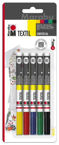 Fabric Paint Pens - set of 5, one each yellow, red, blue, green and black, suitable for use on all fabric