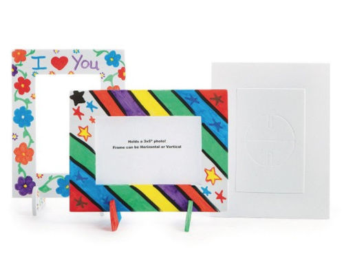 """Foam Frames to Colour - pack of 24 frames and support stands, holds a 8cm x 13cm (3"""" x 5"""") photograph.  Image shows 3 x frames - 2 ready decorated in colourful designs and one plain, size: Frame measures 14cm x 18cm. Pack of 24."""