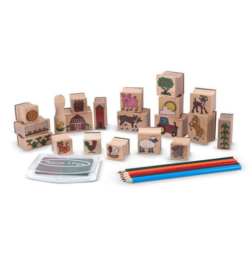 Stamp a Scene - Farm, wooden and rubber faced stamps with inkpad to create easy pictures, Kit includes:  20 assorted wooden stamps, Ink pad with brown and green ink, 5 x colouring pencils, wooden storage tray