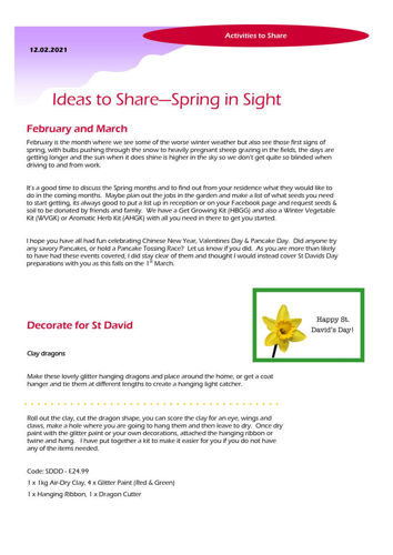 Activities to Share - Spring in Sight