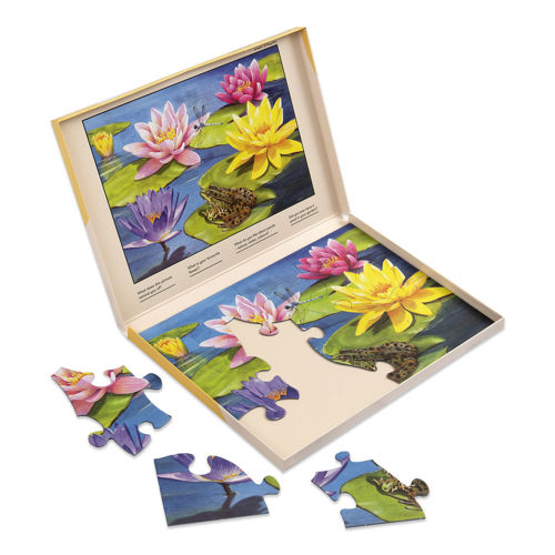 13 Large Piece Puzzle, thick board pieces with extra large shapes for all abilities, image shows partly assembled puzzle in bright colours (yellow and pink lilies) with blue water and green lily pads, box is open to show completed image, Storage box shows the finished picture to follow.  Size: Box: (w) 31cm x (h) 22cm x (d) 2cm.