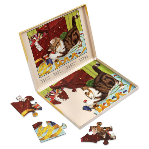 13 Large Piece Jigsaw Puzzle - Life of a Kitten, easy grip chunky board pieces for older hands, image shows part completed puzzle inside storage box of brown and white kitten playing with cotton reels near an open sewing box, Storage box shows the finished picture to follow.  Size: Box: (w) 31cm x (h) 22cm x (d) 2cm.
