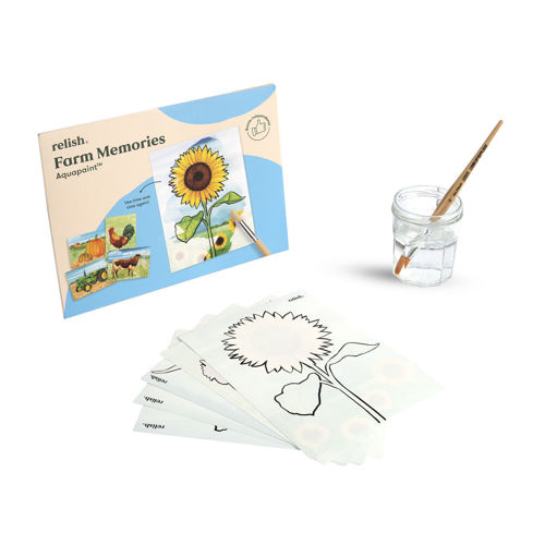 Aquapaints - Farm Memories, water-based painting cards, image shows pack with a sunflower on front, 5 x white cards with outline of sunflower on top sheet and glass of water with paintbrush, Images include;  tractor sunflower Texas Longhorn rooster two pumpkins Each image has clear black guidelines to nudge the artist along.  Size: 27cm x 21cm.