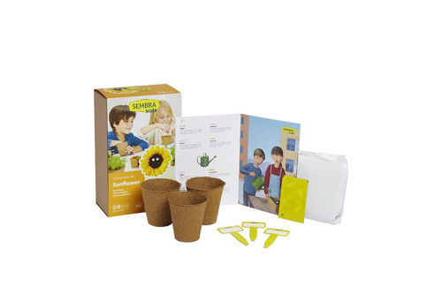 Sunflower Grow Kit, image shows printed box with pots, labels and instructions, Kit contains:  Sunflower seeds 3 round biodegradable pots to plant seeds Substrate Labels Illustrated step-by-step guid.  Size: Box : (l) 25.5cm x (w)17cm x(d) 9.5cm.