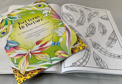 Adult Colouring Books - Nature (pack of 6 books), image shows front cover of closed book with green background and highly colourful detailed finished butterfly images, open book behind shows unfinished detailed line drawings of random leaf pattern, size: A4 softback