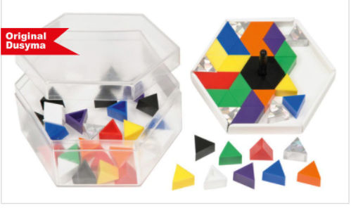 Spinning Prismo Activity - assemble endless patterns and spin for an amazing effect, Set includes:  64 x prismo shapes in 8 colours 8 x glitter prismos 1 x frame 1 x spinning top assorted templates