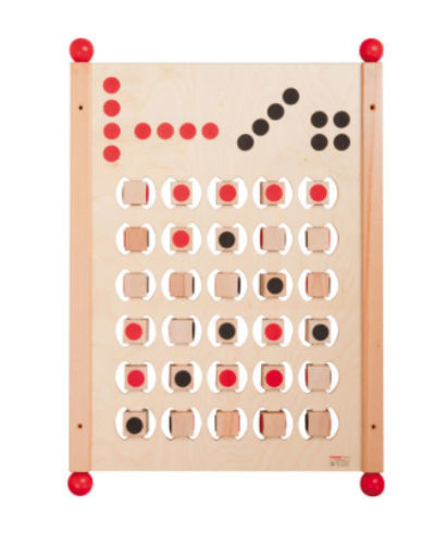 Connect 4 Wall Panel Game, wooden game has sliding panels in black and red, natural wood backing, Manufactured from natural wood.  Set includes all wall fixing screws and dowels.  Size: (l) 80cm xm(w) 56cm.