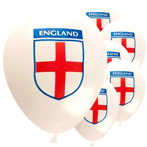 England Balloons (pack of 30), latex balloons with white background and England shield in red, white and blue on the side, image shows 6 inflated balloons, size: 30cm when inflated