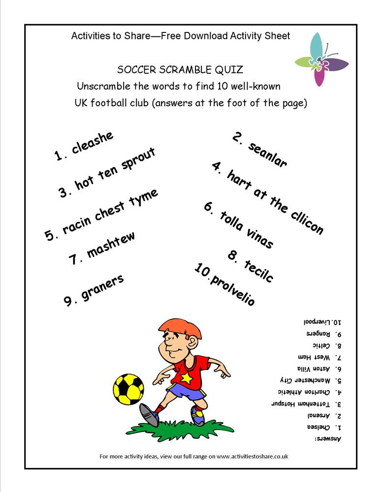 Soccer Scramble Quiz -Activities to Share
